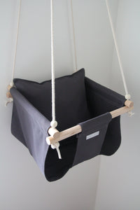 Baby, toddler or child's swing. Handmade by Sewn and Wood using 100% cotton and Tasmanian Oak. Suitable from age 6 months (or when sitting independently) to approx 3-4 years of age. Perfect as a gift for a baby shower or for a gift for a toddler!