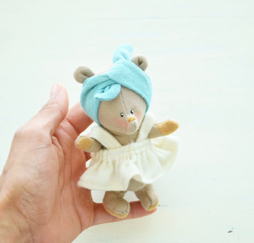 Bear girl No.1, Handmade Organic Friend, Small world play
