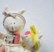 White Kitty, Mama and Toddler set, handmade dolls for play