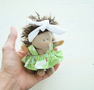 Porcupine Girl No.1, Handmade Organic Friend, Small world play