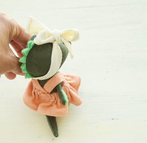 Dino girl No.1, Handmade Organic Friend, Small world play