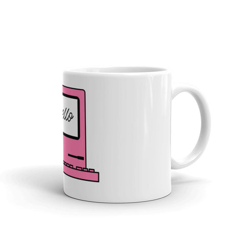 "Pink Computer ""Hello!"" Mug - ART GOODS SHOP"
