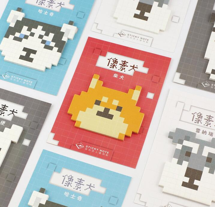 Novelty Pixel Dog Self-Adhesive Sticky Notes Cute Memo Pad stationery - ART GOODS SHOP