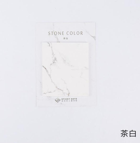Stone Color Self-Adhesive Sticky Notes Memo Pad - ART GOODS SHOP