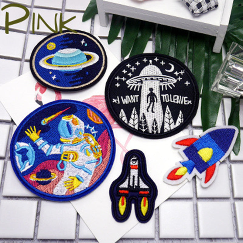 Universe Art Embroidered Iron on Patches Astronaut Space Ship Planet Patterns Art Pathes & Pins - ART GOODS SHOP