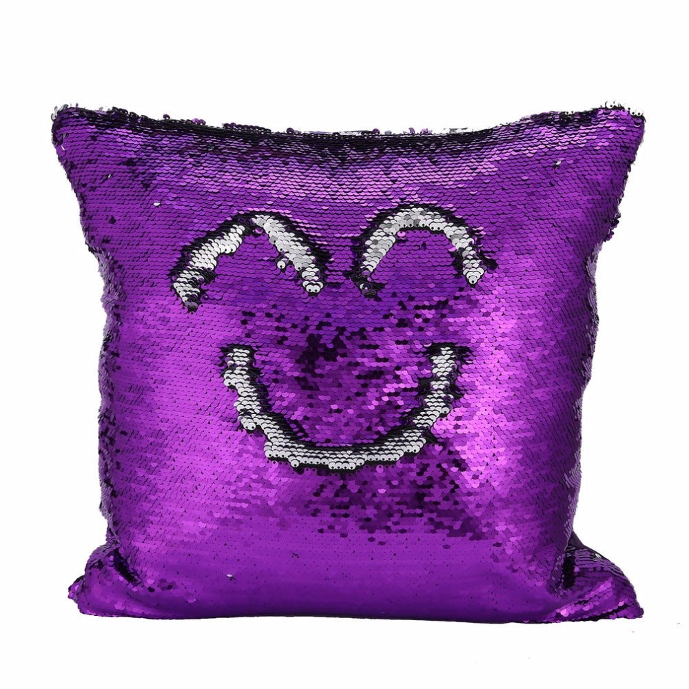 [COVER] Reversible Sequin Mermaid Throw Pillow Cover Sequin Car Sofa Cushion Cover Home Decorative Magical Color Changing Pillowcase - ART GOODS SHOP