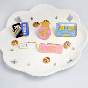 "[5pcs/set] Enamel Art Pins ""Pink Radio, VHS, 1% battery, pizza ball, mix tape"" collar brooch button badge jewelry jean hat accessories - ART GOODS SHOP"