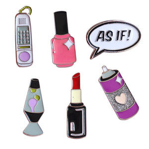 80's Pop Cartoon Letter AS IF Phone Lipstick Cute Metal Brooch Pins Button Pins Enamel Pins - ART GOODS SHOP