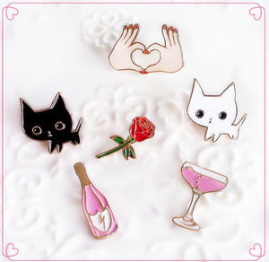Black White Cats Rose Champagne Wineglass Heart in Hand Brooch Button Art Pins Denim Jacket Pin Badge Cartoon Fashion Jewelry Gift  - ART GOODS SHOP