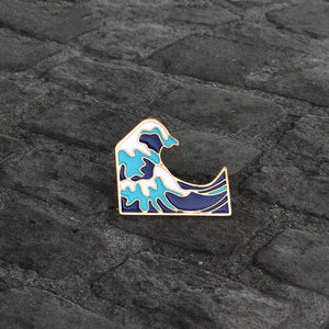 Japanese Sea Wave Spindrift Art Brooch Pin - ART GOODS SHOP