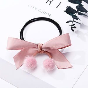 Cute Bow Fur Ball Elastic Hair Bows cute hair accessories - ART GOODS SHOP