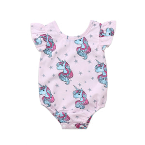 Cute Baby Unicorn Flying Sleeves Jumpsuit Cotton Playsuit (6-24M) kids clothes - ART GOODS SHOP