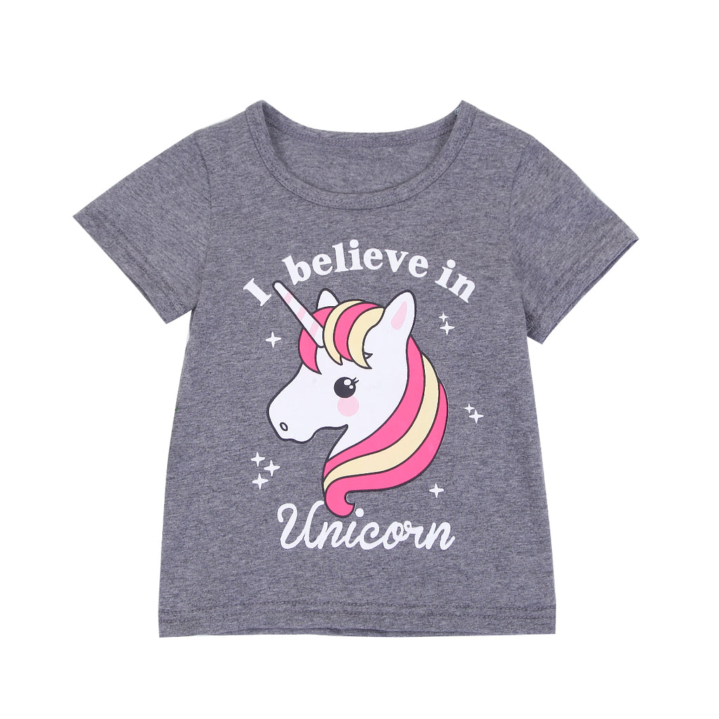 Kids Cute I Believe In Unicorn Gray T-shirts for Baby Boys & Girls (2-6Years) kids clothes - ART GOODS SHOP