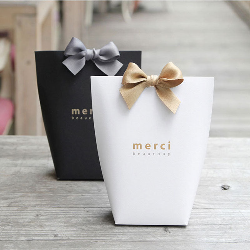 "[5pcs/set] Upscale Black White Bronzing ""Merci"" ""Thank You"" Gift Bag Party - ART GOODS SHOP"