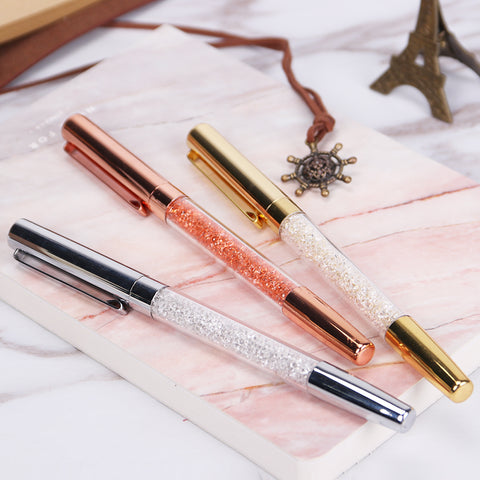 Diamond Metal Ballpoint Pen Crystal Ballpoint Pens for Office Gold Silver Rose Gold - ART GOODS SHOP