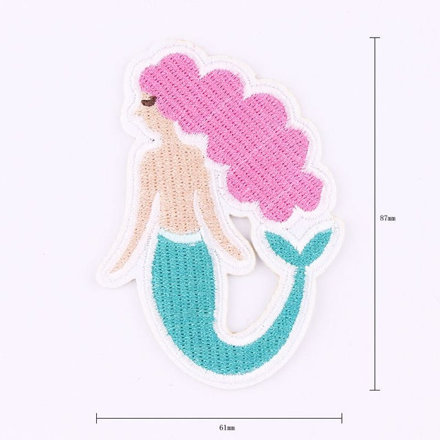 Pink Mermaid Sell Embroidery Art Patches For Clothing Applique DIY Accessory  - ART GOODS SHOP
