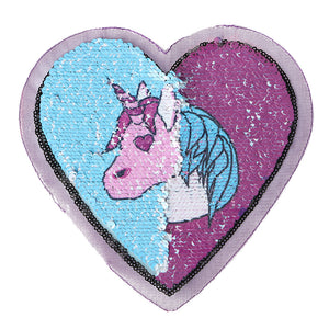 Heart Unicorn Reversible Sequins Art Embroidered Patch (Big) Art Pathes & Pins - ART GOODS SHOP