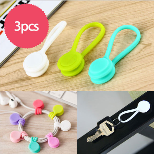 [3pcs/Sot] Multifunctional Magnet Clips for Earphone Cable and Cord Holder Organizer - ART GOODS SHOP