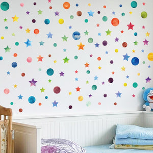 Rainbow Dots Star Universe Wall Sticker Art For Kids Room Home Decor Wall Stickers - ART GOODS SHOP