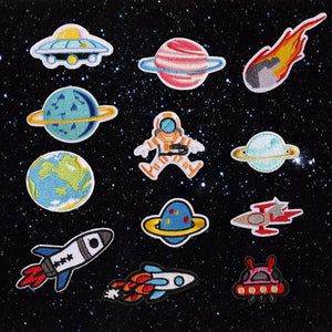 Astronaut Universe Planet Art Embroidered Iron on Patches Rocket Patterns Art Pathes & Pins - ART GOODS SHOP