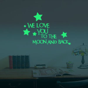 "Glow In The Dark Kids Wall Stickers Art ""We Love You To The Moon And Back"" Wall Stickers - ART GOODS SHOP"