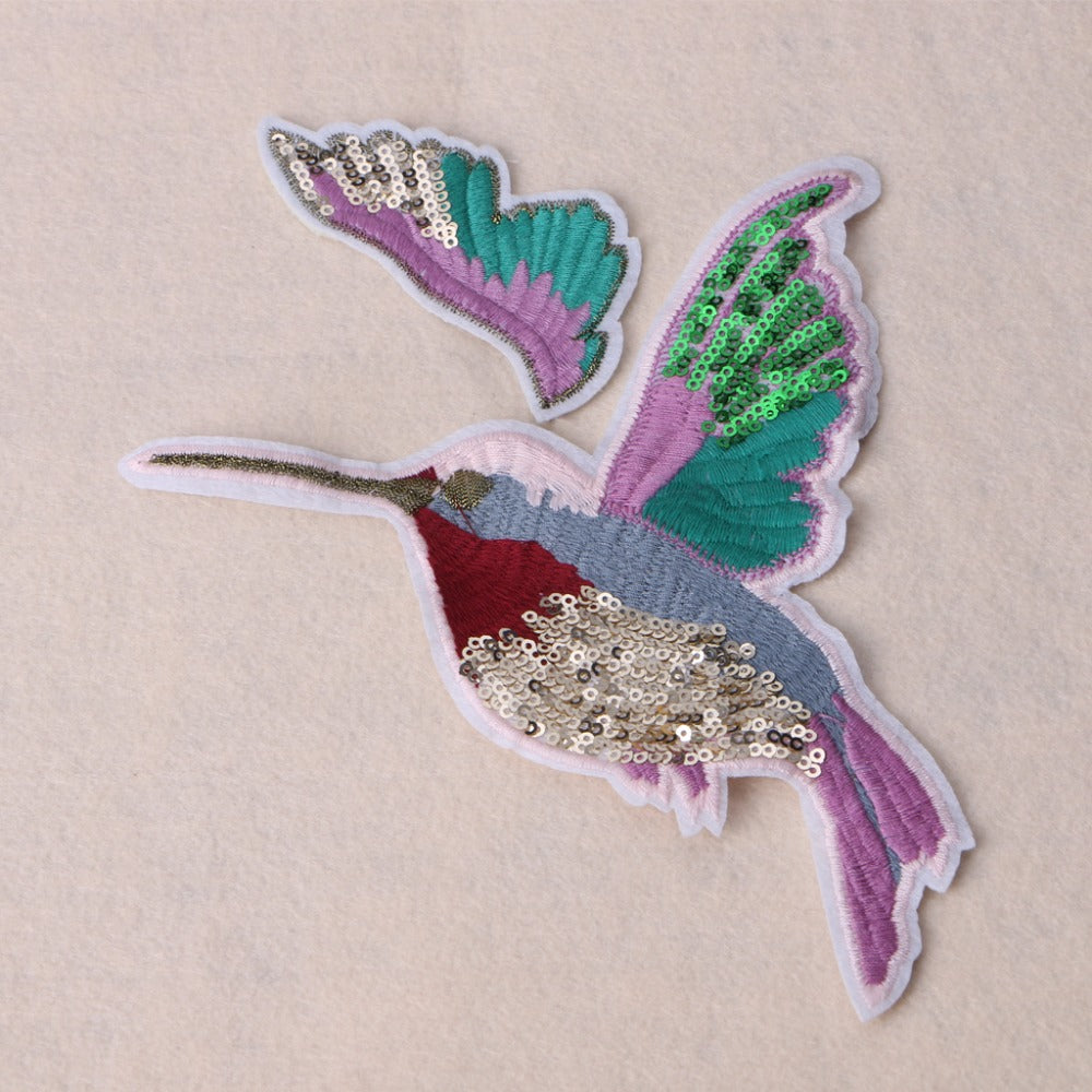 [2Pcs/Set] Beautiful Birds Colorful Sequins Art Embroidery Patches Pair  - ART GOODS SHOP
