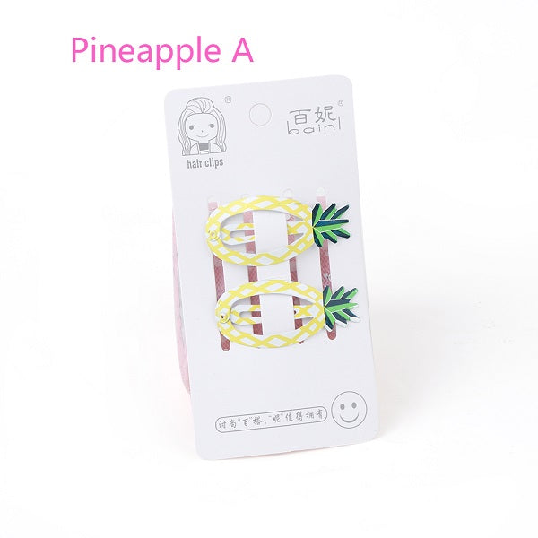 1 Pair Korea Cute Cartoon Hair Clips for kids Pineapple Lemon Watermelon Fruit - ART GOODS SHOP