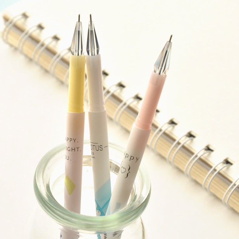 [3pcs/set] Happy {♡} Pastel Watercolored Crystal Head Gel Pen Office Stationery Writing Signing Tool  - ART GOODS SHOP
