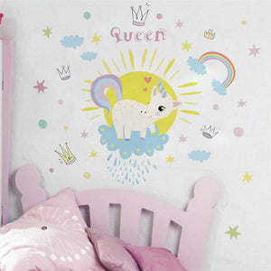 Cute Cartoon Unicorn Rainbow Queen Wall Stickers Art For kids Baby Room Wall Stickers - ART GOODS SHOP