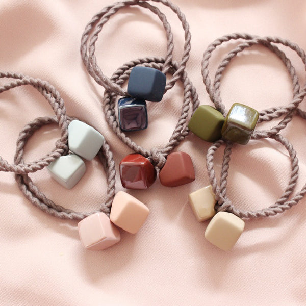 Acrylic Two Cube Elastic Hair Bands Ponytail Holder Headbands - ART GOODS SHOP