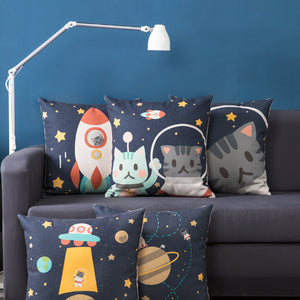 Cute Universe Cat Travel in out Space Rocket UFO Linen Pillow Cover 45x45cm Photography Prop - ART GOODS SHOP