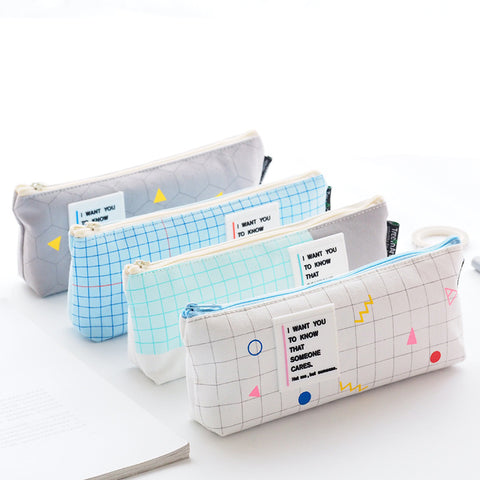 Grid Style Canvas Large Capacity Pencil Bag - ART GOODS SHOP