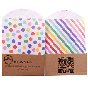 [24pcs/Set] Rainbow Gift Bags 12x16cm Kraft Paper Candy Bags Paper Bags Party - ART GOODS SHOP