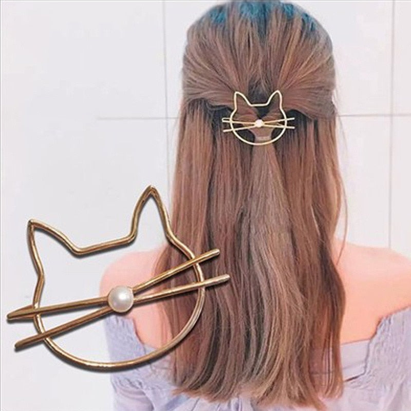 Hollow Cat Hair Clip Barrette cute hair accessories - ART GOODS SHOP