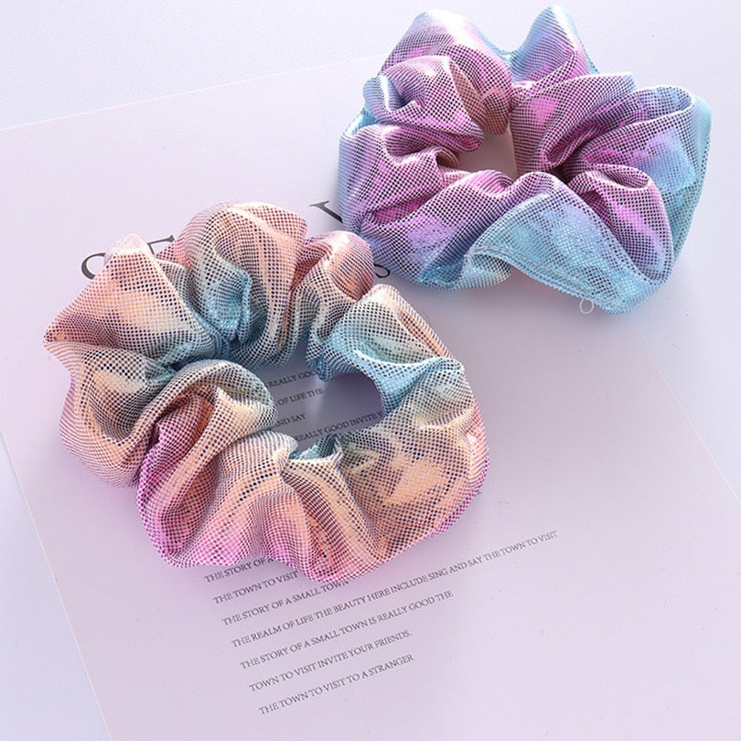 [2PC/set] Unicorn Color Shiny Fabric Hair Scrunchies for Women & Kids Hair Accessories cute hair accessories - ART GOODS SHOP