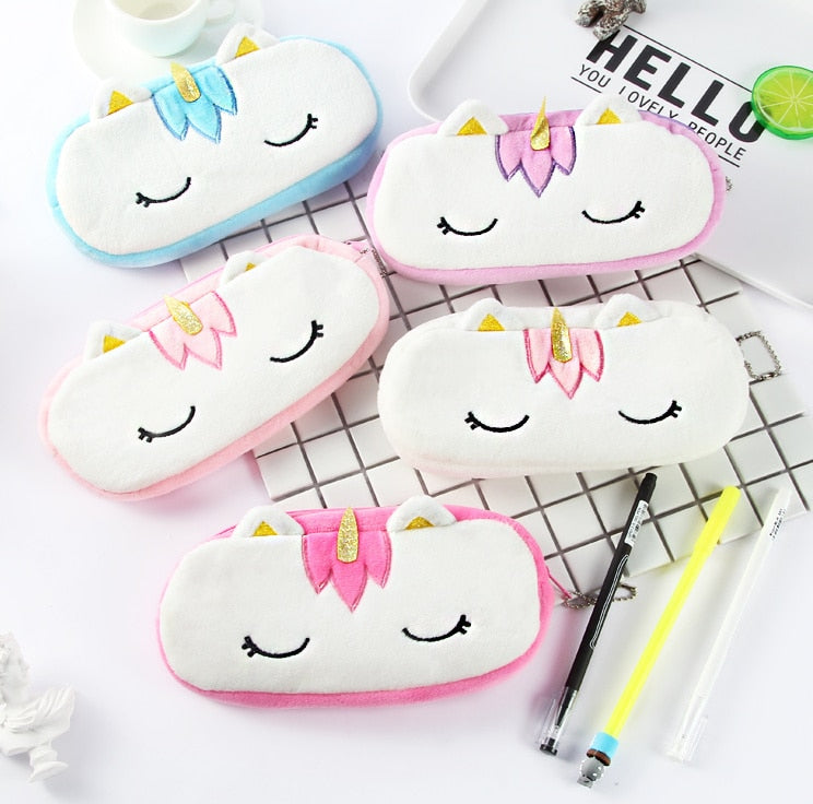 Cute Unicorn Plush Stuffed doll Toy of Coin Pencil Bag Korean Stationery - ART GOODS SHOP