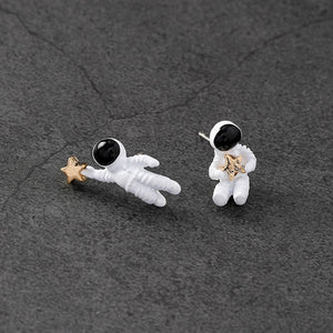 Cute Space Universe Astronaut with Stars Studs Earrings Jewelry - ART GOODS SHOP