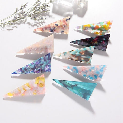 Beautiful Acetate Marble Triangle Hairpin Hair Accessories - ART GOODS SHOP