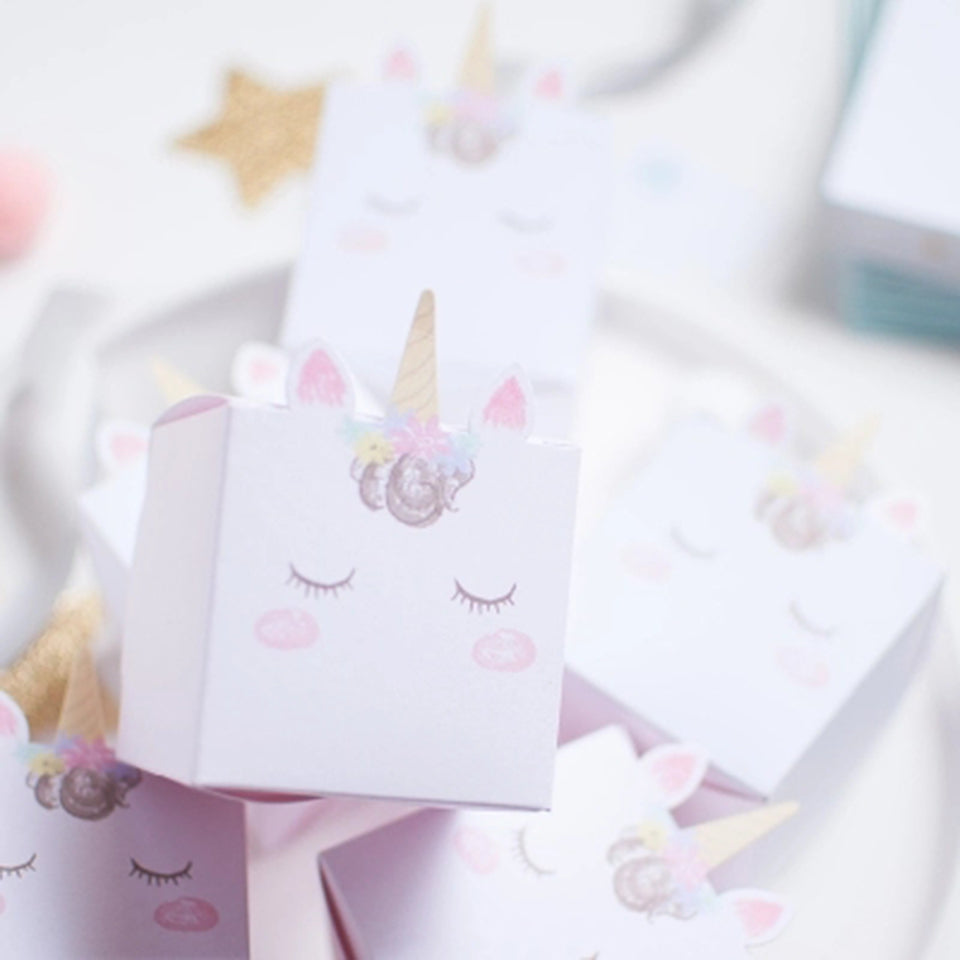 Cute Cartoon Unicorn Party Gift Box White Decorations Set Party - ART GOODS SHOP