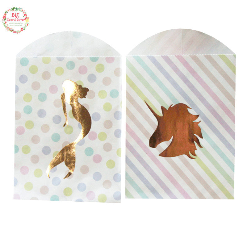 [12PCS/Set] Gold Unicorn and Mermaid Paper Gift Bags Rainbow Color Candy Bags Party - ART GOODS SHOP