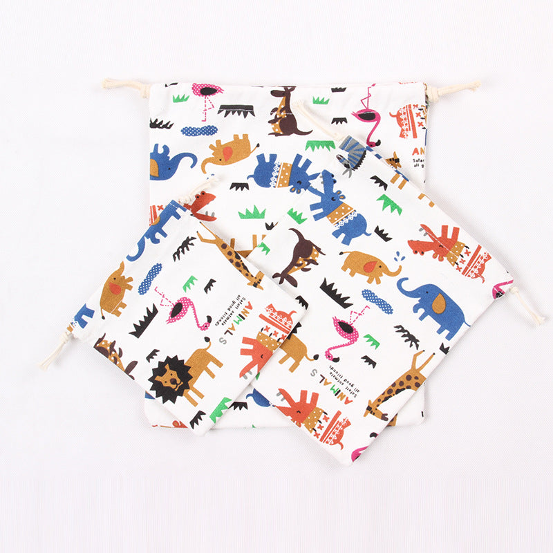 Pure Cotton Canvas Gift Bags Cartoon Animal Party Party - ART GOODS SHOP