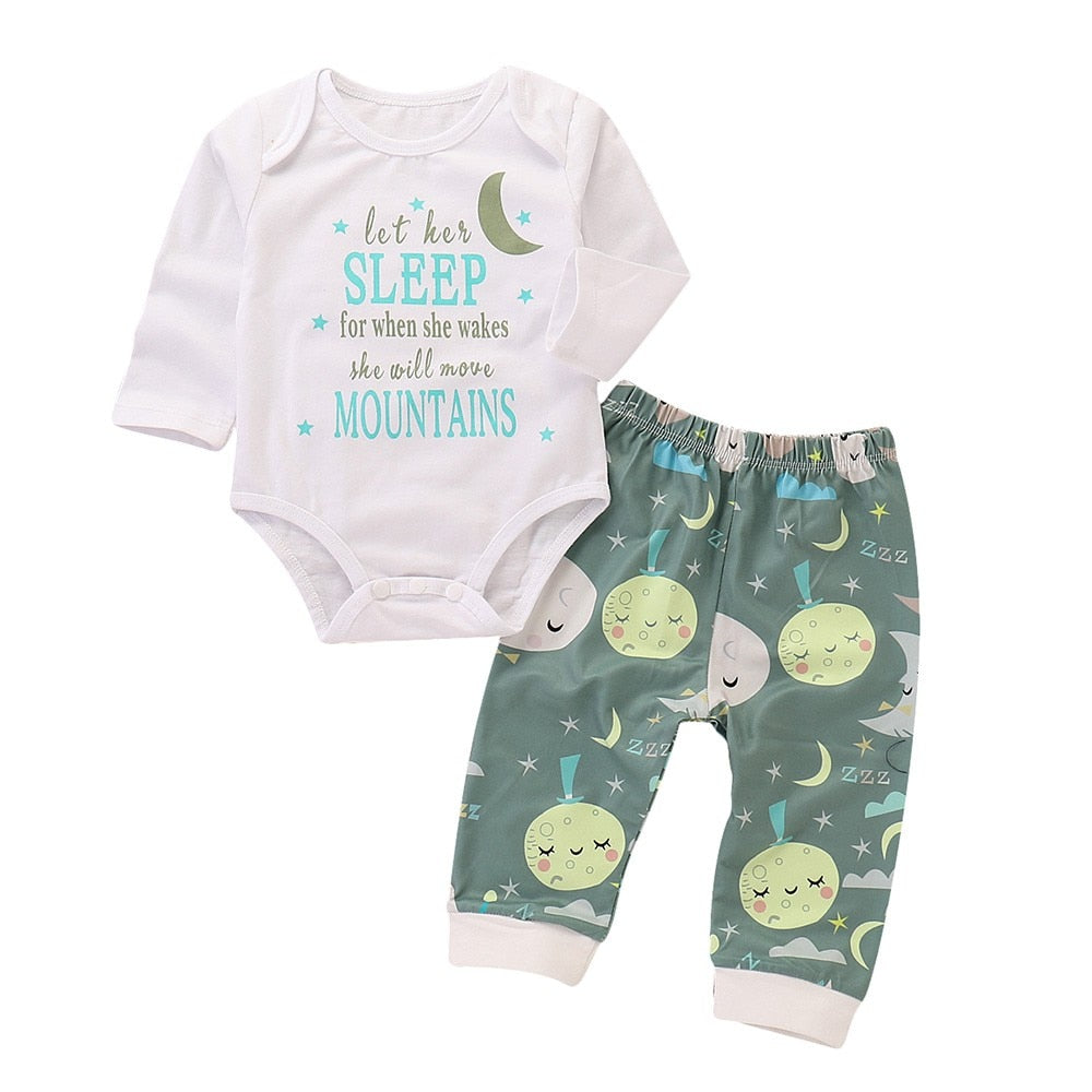 [2PCs] Newborn 6-24M Baby Boy Universe Romper Jumpsuit /Tops+ Star Moon Print Pants Outfits Set (6-24M) kids clothes - ART GOODS SHOP