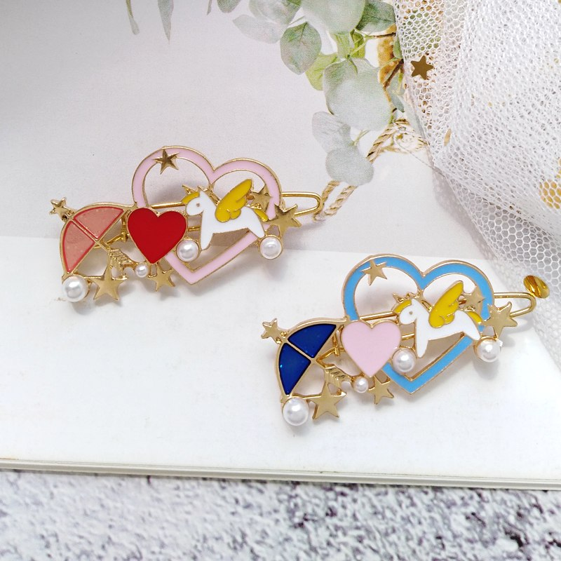 Cute Cartoon Unicorn Love Hair clips cute hair accessories - ART GOODS SHOP