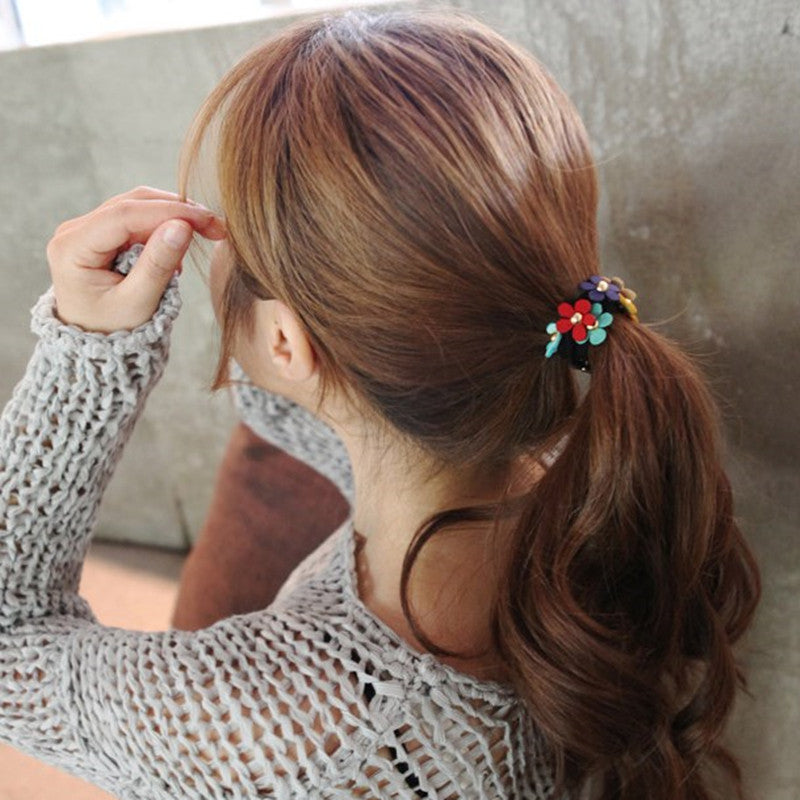 Cute Flower Korean Hairband Elastic Rubber Band Women & Kids Hair Accessories cute hair accessories - ART GOODS SHOP
