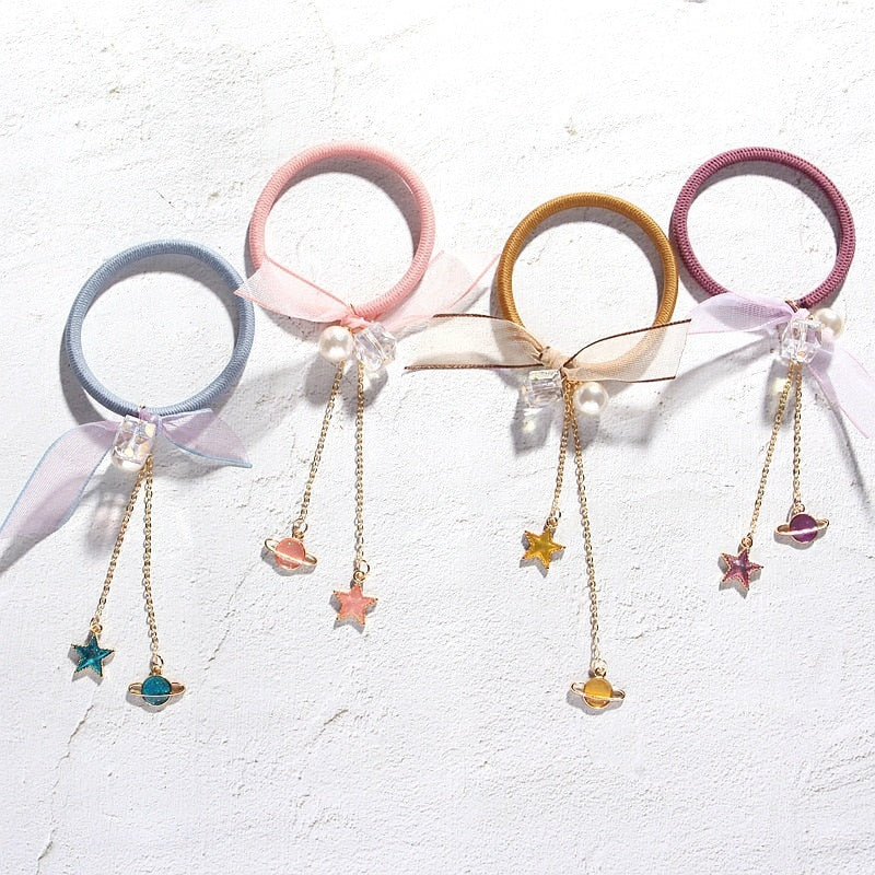 Cute Korean Small Universe Elastic Hair Band for Women cute hair accessories - ART GOODS SHOP