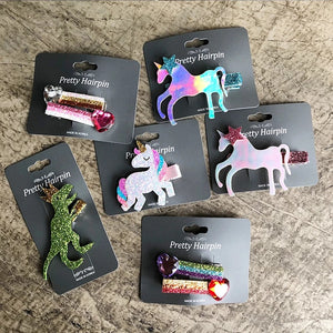 Cute 3D Unicorn & Dinosaurs Korean Hair Clips cute hair accessories - ART GOODS SHOP