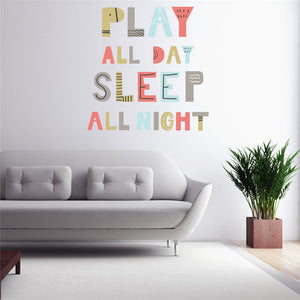 Kids Play All Day Wall Stickers Art Wall Decals for Children Room Wall Stickers - ART GOODS SHOP