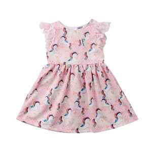 Baby Girls Lace Cute Pink Unicorn Party Kids Sundress (1-5yrs) kids clothes - ART GOODS SHOP