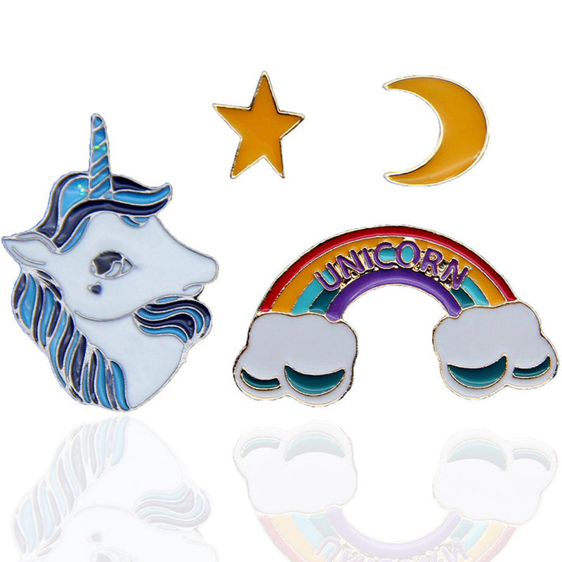 Cute Cartoon Rainbow Unicorn Enamel Brooches Pins Art Pathes & Pins - ART GOODS SHOP