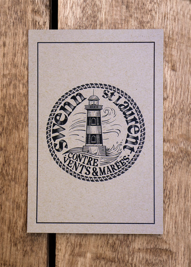 lighthouse small card - kraft//petite carte phare - kraft